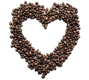 Heart of coffee beans on white background. Close-up Royalty Free Stock Photography