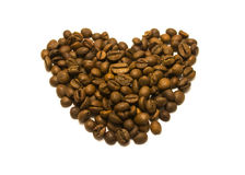 Heart from coffee beans. Heart of coffee beans on a white background isolated Royalty Free Stock Image