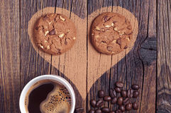 Heart, coffee and cookies Stock Image
