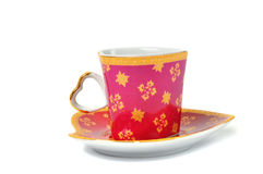 Heart coffee cup over white Royalty Free Stock Images