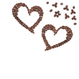 Heart coffee frame isolated. Hearts made with coffee beans for creative projects, frames and design, isolated on white Stock Photo