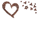 Heart coffee frame isolated. Hearts made with coffee beans for creative projects, frames and design, isolated on white Stock Photography