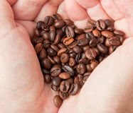 Heart of coffee grains Royalty Free Stock Photos