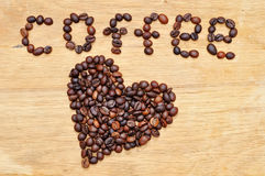 Heart from coffee grains Royalty Free Stock Photo