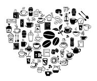 Heart coffee icon set. Coffee icon set with accessory and ingredient of bean, jar, cup, jug, glass, sugar, bag, mug of break foods for relaxation,works and fresh Royalty Free Stock Image