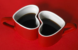 Heart coffee love. Heart shaoe coffee cups, love Royalty Free Stock Photos