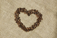 Heart of Coffee over canvas Royalty Free Stock Images