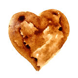 Heart - Coffee stain Stock Photography