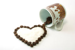 Heart of coffee with sugar inside