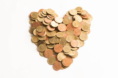 Heart coin. Sign isolate on white background Royalty Free Stock Photo