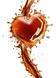 Heart from cola splash with bubbles isolated on white Stock Photography