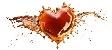 Heart from cola splash with bubbles isolated on white. Background. 3d rendering Stock Photography