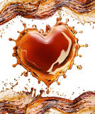 Heart from cola splash with bubbles on white vector illustration