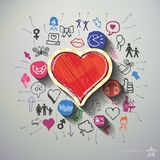 Heart collage with icons background Royalty Free Stock Photos