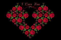 Heart collected from a bouquet of red roses Royalty Free Stock Photos