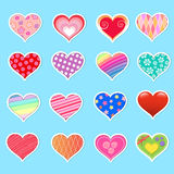 Heart collection. Collection of hearts with different desins and patterns Stock Photo