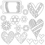 Heart collection with different colorful pattern Stock Photography