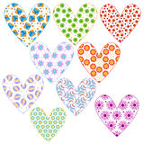 Heart collection with different colorful pattern Royalty Free Stock Photography