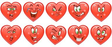 Heart collection. Emoticons. Smiley. Emoji. Love symbol royalty free stock photography