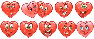 Heart collection. Emoticons. Smiley. Emoji. Love symbol royalty free stock images