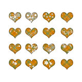 Heart collection with flowers. 16 hearts with orange plaid pattern and white flowers, isolated on white background royalty free illustration