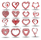 Heart collection reflection. There are different icon hearts Stock Images