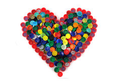 Heart from color caps Royalty Free Stock Photo