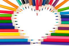 Heart from color pencils Stock Photo