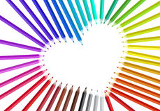 Heart with color pencils,. Heart frame with color pencils, illustration stock illustration