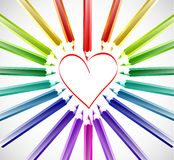 Heart With Color Pencils. Vector Stock Photo