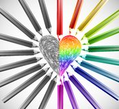 Heart With Color Pencils. Vector illustration Stock Photography