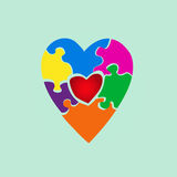 Heart from color puzzles. Puzzle heart vector background.Heart from color puzzles Royalty Free Stock Photos