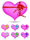 Heart with color ribbon Stock Photography