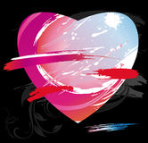 Heart from color splashes and line brushes Stock Photography