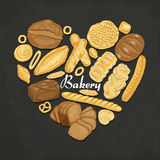 The  heart of colored bakery products. Vector illustration for your design Stock Images