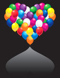 Heart of colorful balloons Stock Image
