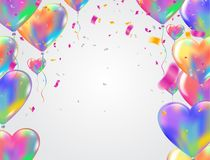 Heart colorful balloons Balloons and confetti Carnival festive b. Ackground. Vector illustration. holiday illustration with confetti balloons Party decorations Royalty Free Stock Images