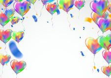 Heart colorful balloons Balloons and confetti Carnival festive b. Ackground. Vector illustration. holiday illustration with confetti balloons Party decorations Royalty Free Stock Photography