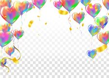 Heart colorful balloons Balloons and confetti Carnival festive b. Ackground. Vector illustration. holiday illustration with confetti balloons Party decorations Royalty Free Stock Photo