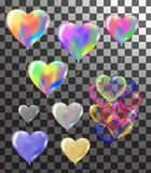 Heart colorful balloons transparent banner template, background. Vector illustration Royalty Free Stock Photos
