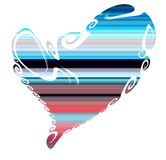 Heart and colorful blue violet lines, love image royalty free stock photography
