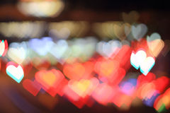 Heart. Colorful bokeh heart shape ,city at night stock photography