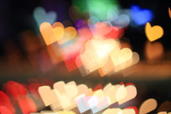 Heart. Colorful bokeh heart shape ,city at night royalty free stock image