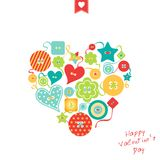 Heart of colorful differently shaped buttons Stock Photo