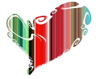 Heart. Colorful isolated heart in playful red green shapes Stock Images