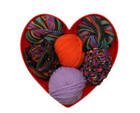Heart with colorful knitting yarn Royalty Free Stock Photos