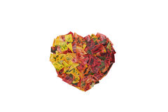 Heart from Colorful Leaves Royalty Free Stock Photos