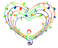Heart of colorful music . Royalty Free Stock Photo