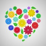 Heart of paper flowers. Heart of colorful paper flowers with shadows royalty free illustration