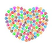 Heart of colorful paw prints royalty free stock photo